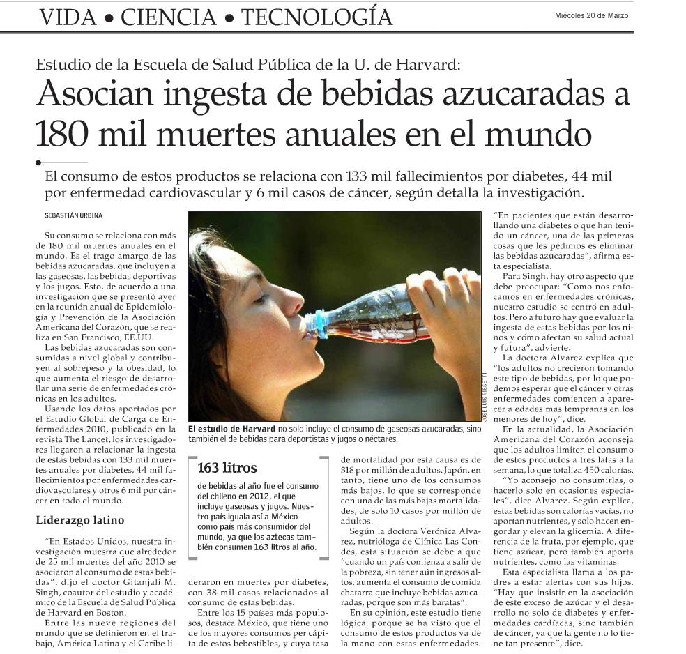 Asocian ingesta de bebidas azucaradas a 180 mil muertes anuales en el mundo
